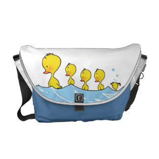 Swimming duck family courier bag