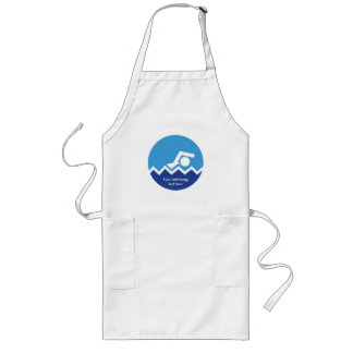 Swimming gifts, swimmer on a blue circle custom long apron