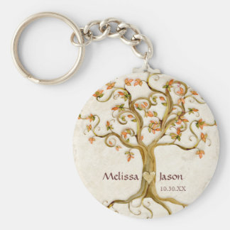 Swirl Tree Roots Antiqued Personalized Names Heart Basic Round Button Key Ring