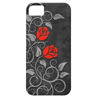 Swirling Dark Stone Red Roses Barely There iPhone 5 Case