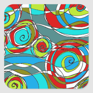 Swirly Bubbles  Blue Green Red Square Sticker