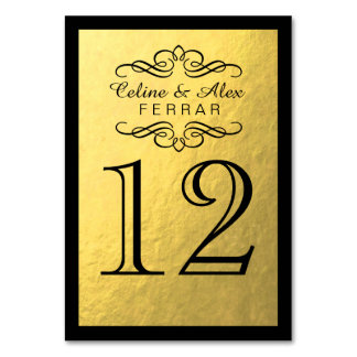 Swirly Flourish with Outline Table Numbers | gold Table Cards