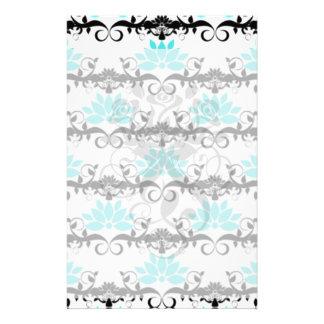 swirly modern aqua white black damask pattern customized stationery