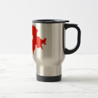 Swiss flag map stainless steel travel mug