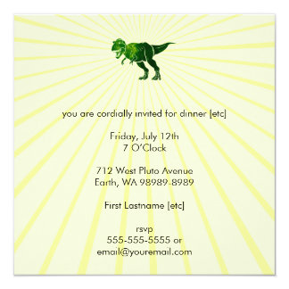 T-Rex 13 Cm X 13 Cm Square Invitation Card