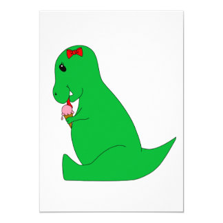 T-Rex Ice Cream Cone 13 Cm X 18 Cm Invitation Card