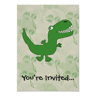 T-Rex Tyrannosaurus Rex Dinosaur Cartoon Kids Boys 13 Cm X 18 Cm Invitation Card