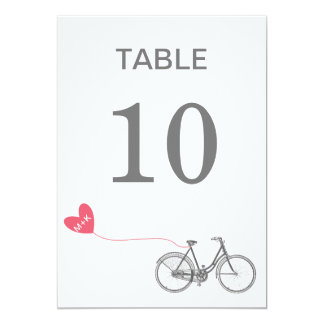 Table number romantic bike with initials 13 cm x 18 cm invitation card