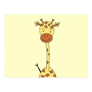 Tall Cute Giraffe. Cartoon Animal. Postcard