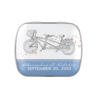 Tandem Bicycle Custom Wedding Favor Tins (thistle) Jelly Belly Candy Tins