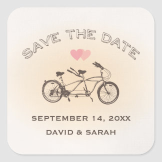 Tandem Bicycle Save The Date Sticker