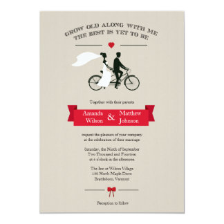 Tandem Bicycle Vintage Wedding Invitations