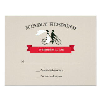 Tandem Bicycle Vintage Wedding RSVP 11 Cm X 14 Cm Invitation Card