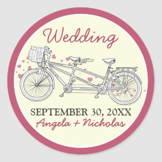 Tandem Bicycle Wedding Invitation Seal (pink) Round Sticker