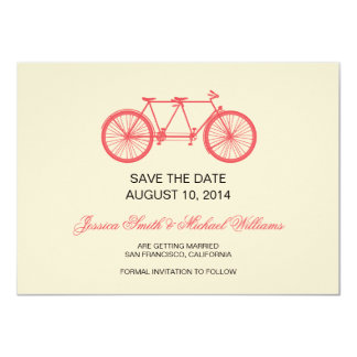 Tandem Bicycle Wedding Save The Date Pink Ecru 11 Cm X 16 Cm Invitation Card