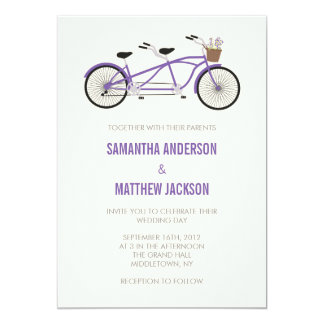 Tandem Bike Wedding Invitation - Purple