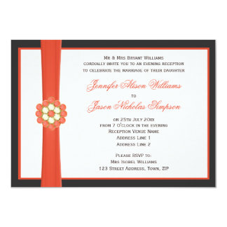 Tangerine Orange Jewels Evening Wedding Reception 11 Cm X 16 Cm Invitation Card