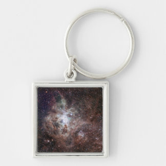 Tarantula Nebula Silver-Colored Square Key Ring
