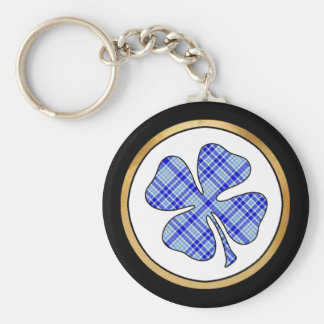 Tartan Plaid Pattern Collection - Blue 08 Basic Round Button Key Ring