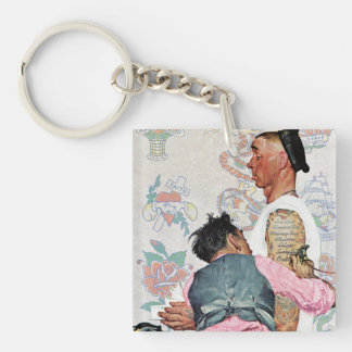 Tattoo Artist Double-Sided Square Acrylic Key Ring