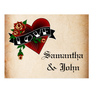 Tattoo Heart and Rose Save the Date Postcard