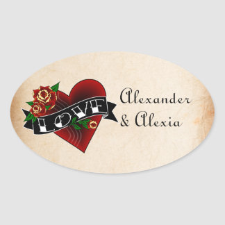 Tattoo Heart and Roses Custom Oval Sticker