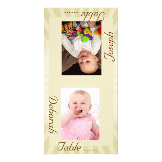 Taupe Sunburst Bride & Groom Photo Table Card Picture Card