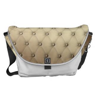 Taupe Tuft Leather Buttons Plush Buckskin Messenger Bag