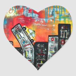 Taxi Cab City Art Heart Sticker