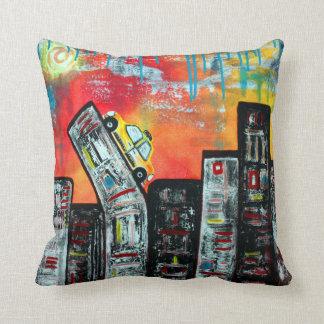 Taxi Cab City Art Throw Cushions