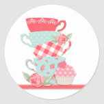 Tea Cups and Roses Round Sticker