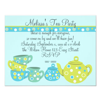 Tea Party Bedotted 11 Cm X 14 Cm Invitation Card