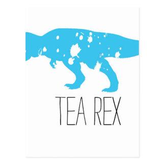 Tea Rex Blue Postcard