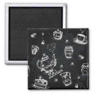 Tea Time Black Square Magnet