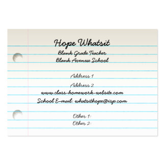 Teacher's Business Profile Card Pack Of Chubby Business Cards