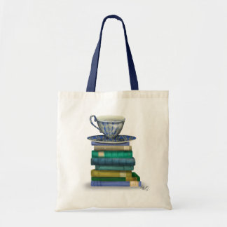 Teacup and Books Budget Tote Bag
