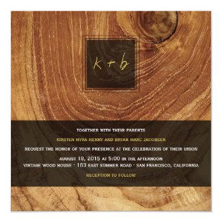 Teak Wood Grain Wooden Old Rustic Texture Wedding 13 Cm X 13 Cm Square Invitation Card
