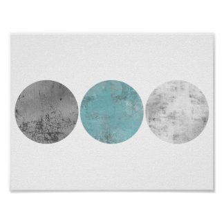 Teal and gray geometric circles poster