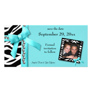 Teal And White Zebra Gems Save The Date Card Photo Cards