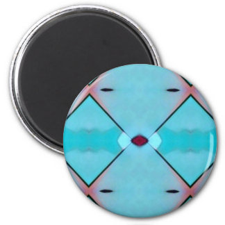 Teal Baby Blue Geometric Criss-cross Pattern 6 Cm Round Magnet