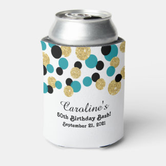 Teal, Black and Gold Glitter Confetti | 50th