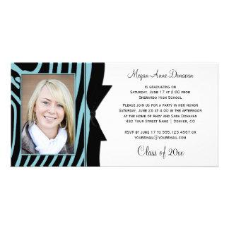 Teal Black Zebra Print Photo Graduation Party Photo Card