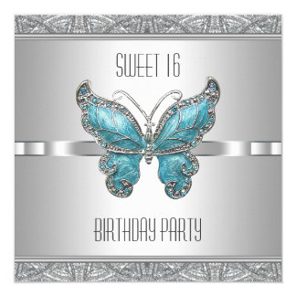 Teal Blue Butterfly Sweet 16 Birthday Party 13 Cm X 13 Cm Square Invitation Card