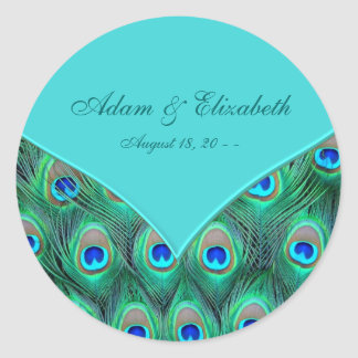 Teal Blue Peacock Wedding Favor Label Round Sticker