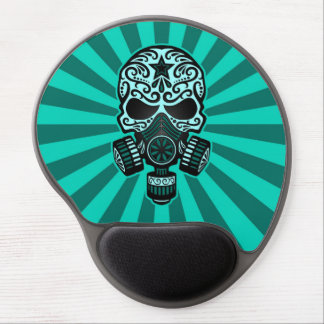 Teal Blue Post Apocalyptic Sugar Skull Gel Mouse Pad