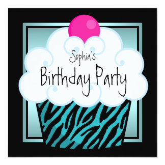 Teal Blue Zebra Girls Cupcake Birthday Party 13 Cm X 13 Cm Square Invitation Card