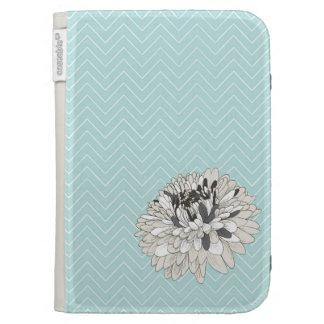 Teal Chevron chrysanthemum pattern Kindle Case