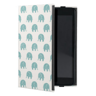 Teal Cute Elephant Pattern Cover For iPad Mini