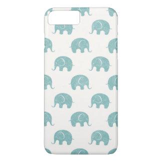 Teal Cute Elephant Pattern iPhone 7 Plus Case