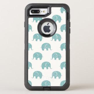 Teal Cute Elephant Pattern OtterBox Defender iPhone 7 Plus Case